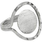 Designer's Semi-Adjustable Flat Round Ring 15mm 1/Pkg-Silver Overlay