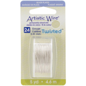 Artistic Wire Twisted Round-Non-Tarnish Silver 24 Gauge 5yd