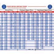 Price Code Card-For Zippers & Thread