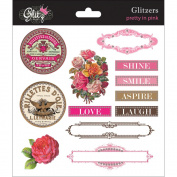 Pretty In Pink Glitzers Transparent Stickers 15cm x 15cm -