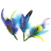Feather Picks 15cm - 18cm 2/Pkg-Assorted Blue/Green/Purple Guinea