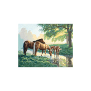 PaintWorks Paint By Number Kit 50cm X 41cm -Horses By A Stream