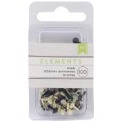 Elements Mini Brads 100/Pkg-Round/Neutral