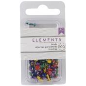 Elements Mini Brads 100/Pkg-Round/Primary