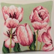 Tulipe A Gauche Pillow Cross Stitch Kit-38cm - 1.9cm x 40cm