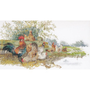 Chickens On Aida Counted Cross Stitch Kit-70cm - 1.9cm x 37cm 16 Count