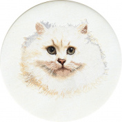 White Persian Cat On Linen Counted Cross Stitch Kit-41cm - 1.3cm Round 32 Count
