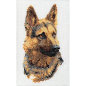 Shepherd's Dog On Linen Counted Cross Stitch Kit-23cm - 1.3cm x 33cm 24 Count