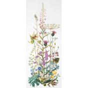 Wild Flowers On Linen Counted Cross Stitch Kit-43cm - 1.9cm x 110cm 32 Count