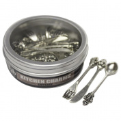 Silver Embellishments 10/Pkg-Kitchen Charms - Knife, Fork & Spoon