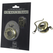 Old Brass No Mechanism FOB Watch W/Chain Embellishment-Large
