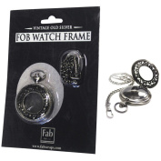 Old Silver No Mechanism FOB Watch W/Chain Embellishment-Large
