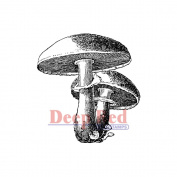 Deep Red Cling Stamp 5.1cm x 5.1cm -Mushrooms