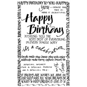 Crafty Individuals Unmounted Rubber Stamp 12cm x 18cm Pkg-Happy Birthday Calligraphy