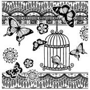 Crafty Individuals Unmounted Rubber Stamp 12cm x 18cm Pkg-Bird & Butterflies