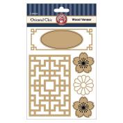 Oriental Chic Laser Cut Wood Veneer Shapes 5/Pkg-