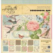 Botanical Tea Double-Sided Paper Pad 30cm x 30cm -24 Sheets -12 Designs, 2ea