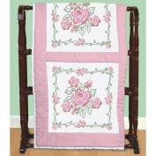 Stamped White Quilt Blocks 46cm x 46cm 6/Pkg-Rose Bouquet