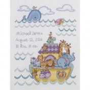 Noah's Ark Birth Record Counted Cross Stitch Kit, 25cm x 33cm , 14-Count