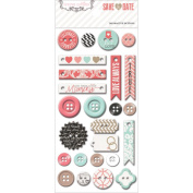 Save The Date Decorative Buttons & Chipboard-