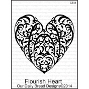 Our Daily Bread Cling Rubber Stamp 9.5cm x 15cm -Flourish Heart