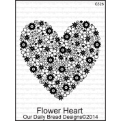 Our Daily Bread Cling Rubber Stamp 9.5cm x 15cm -Flower Heart