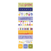 Little Yellow Bicycle Zinnia Fabric Stickers-Words