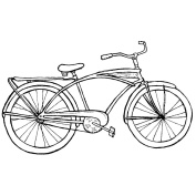 Magenta Cling Stamps 11cm x 7cm -Bicycle