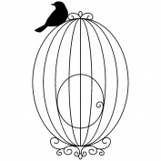 Magenta Cling Stamps 7cm x 5.1cm -Small Bird Cage