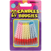 Birthday Candles W/Holders 5.7cm 20/Pkg-Assorted Colour Spirals