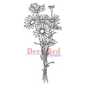 Deep Red Cling Stamp 3.8cm x 7.6cm -Daisy Bouquet