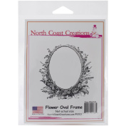 North Coast Creations Cling Rubber Stamp 13cm x 17cm -Flower Oval Frame