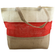 Burlap Bag 48cm x 36cm X5.13cm -Ivory, Red And Natural