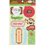 Animal Crackers Stickers 11cm x 18cm Sheets 2/Pkg-Icons & Words With Glitter Accents