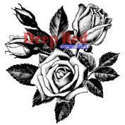 Deep Red Cling Stamp 7.6cm x 7.6cm -Rose Blooms