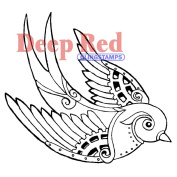 Deep Red Cling Stamp 7.6cm x 7.6cm -Steampunk Sparrow