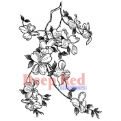 Deep Red Cling Stamp 7.6cm x 10cm -Cherry Blossoms