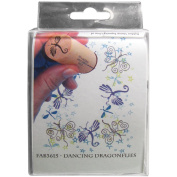 Mounted Rubber Fabric Stamp Set 4/Pkg-Dancing Dragonflies