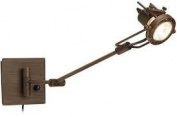 Contemporary Spotlight Bronze Single-Light Swing Arm Wall Lamp