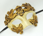 Roman Warrior Venetian Masquerade Mask - Greek Venetian Masquerade Mask - Metallic Sun God Mask - Mardi Gras Costume Gold/Ivory