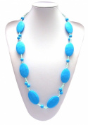 "Silli Me Jewels ""Date Night"" - 31"" Elegant Teething Bling Necklace with Larger Oval Beads and 9mm Beads for Baby to Chew"