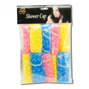 10-pack Resuable Disposable Elastic Shower Caps - One-Size-Fits-All - Stretches to 38cm