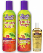 Beautiful Textures Naturally Straight Anti-Reversion Shampoo 350ml , Conditioner 350ml & Palmer's Body Oil 50ml