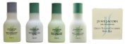 June Jacobs Green Tea and Cucumber Travel Set Shampoo, Conditioner, Body Balm, Shower Gel, Soap
