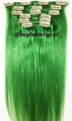 Green 43cm 46cm 70 Grammes 7 Pieces Edgy Remy Clip in Hair Extensions