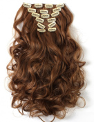 Onedor 50cm Curly Full Head Clip in Kanekalon Synthetic Hair Extensions 7pcs 130g