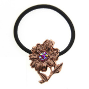 Copper Sunflower Aurora Borealis Crystal Ponytail Holder
