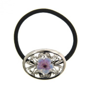 Purple Hibiscus Filigree Elastic Hair Band