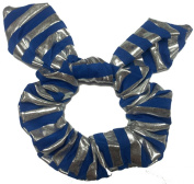 Blue Siver Strip Bow Scrunchie.