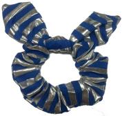 Blue Siver Strip Bow Scrunchie.